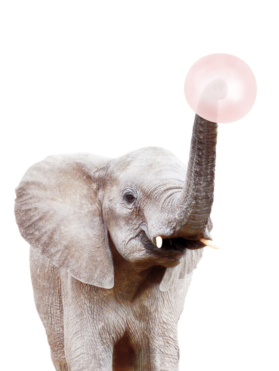 Art Print on Demand Elephant with bubble gum