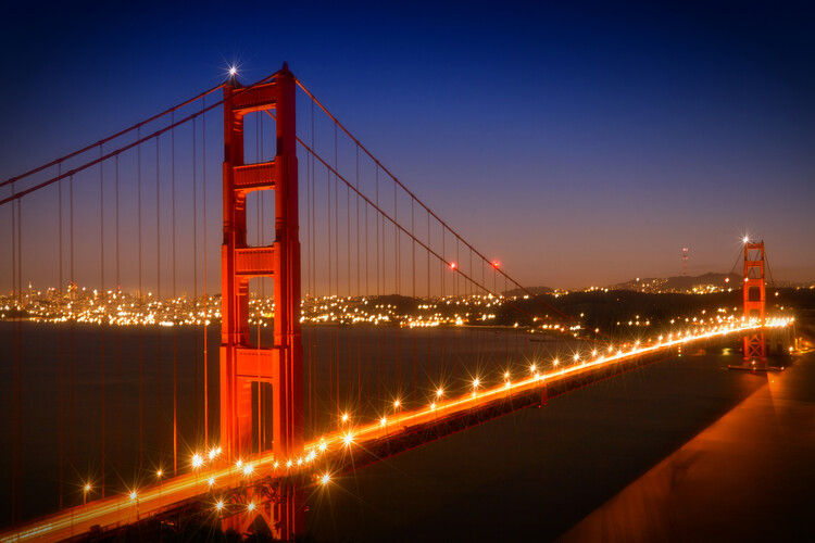 Art Print on Demand Evening Cityscape of Golden Gate Bridge