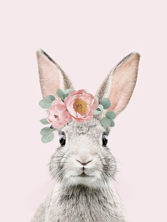Art Print on Demand Flower crown bunny pink