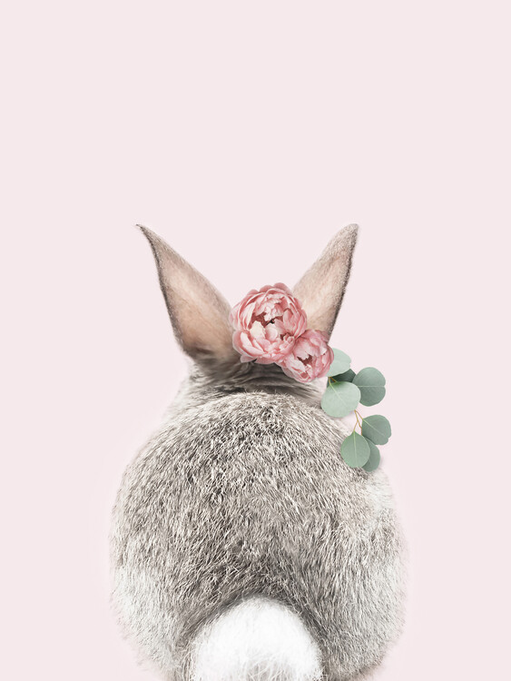 Art Print on Demand Flower crown bunny tail pink