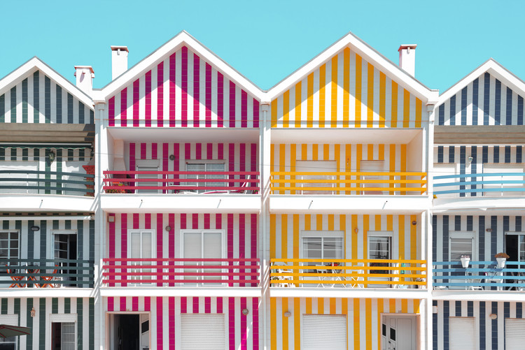 Art Print on Demand Four Houses of Striped Colors