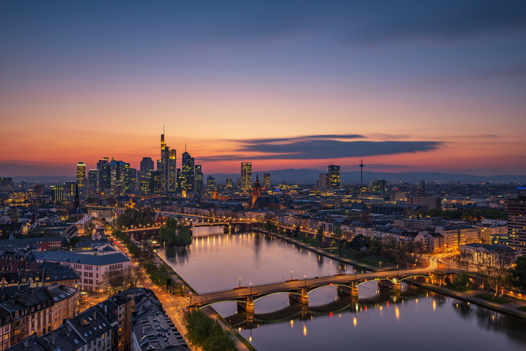 Art Print on Demand Frankfurt Skyline at sunset