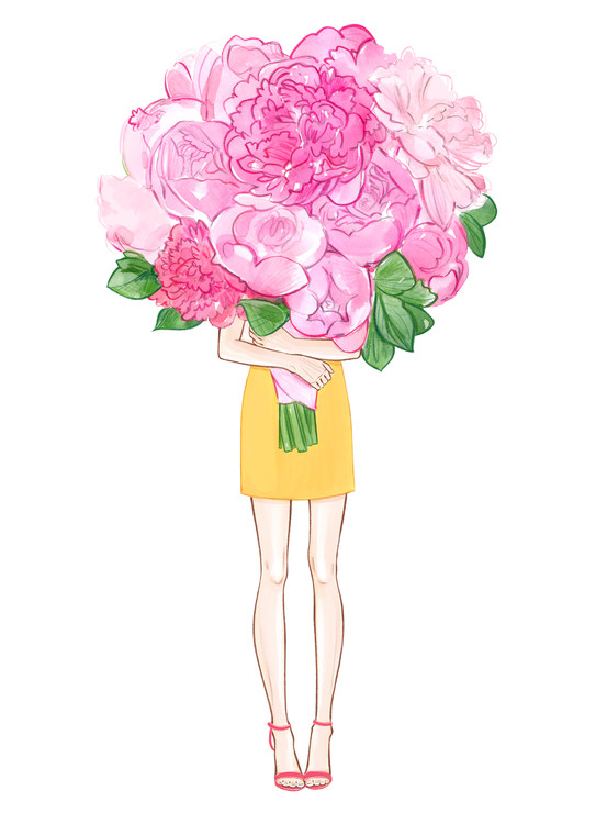 Art Print on Demand Girl and Peonies
