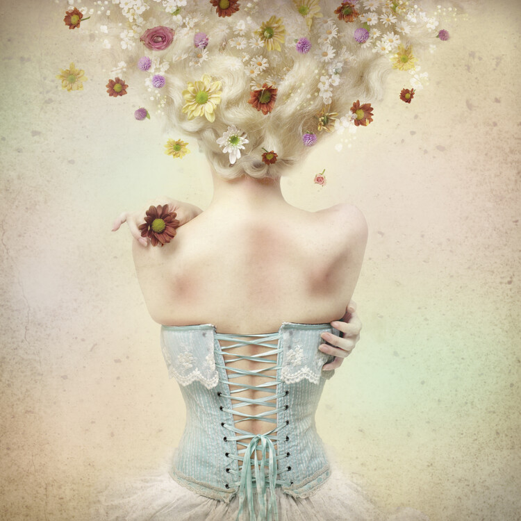Art Print on Demand Girl of the flower garden