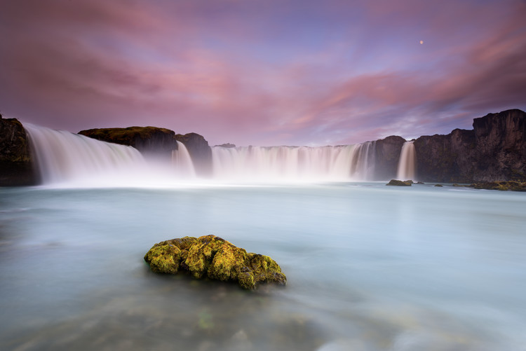 Art Print on Demand Godafoss and the moon