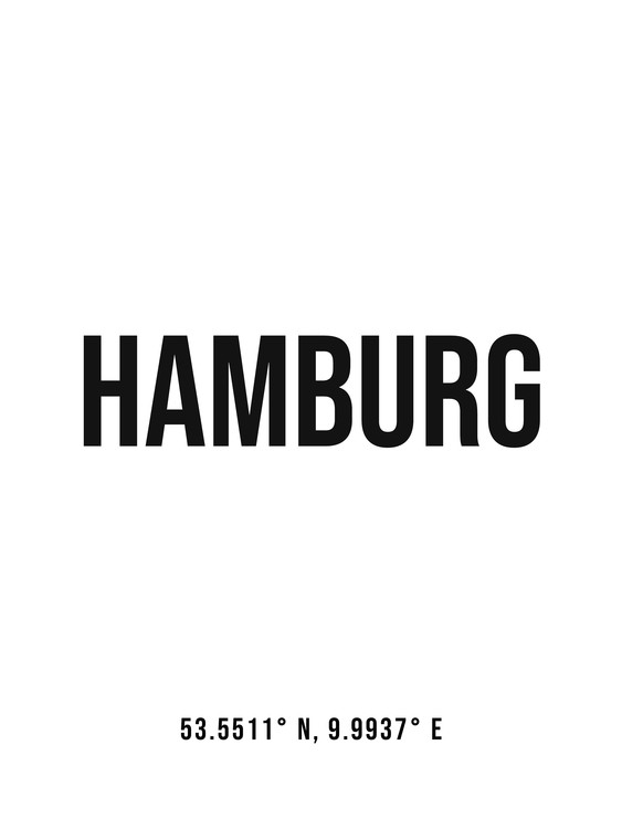 Art Print on Demand Hamburg simple coordinates
