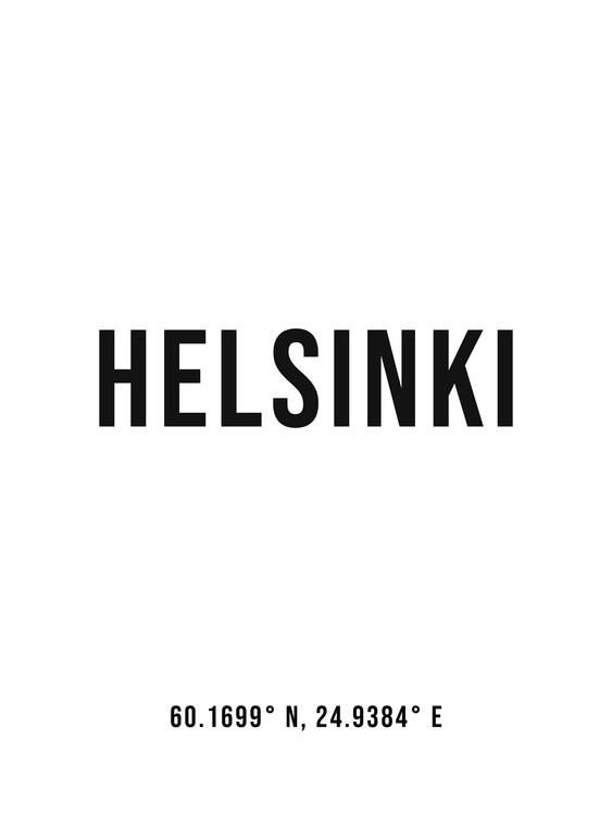 Art Print on Demand Helsinki simple coordinates