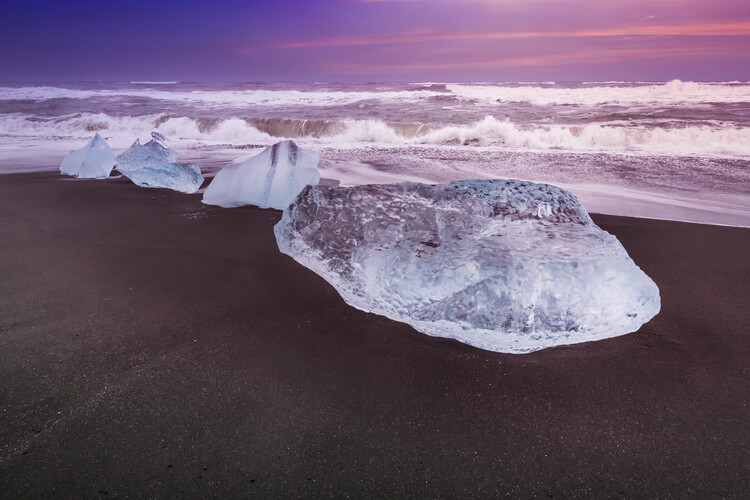 Art Print on Demand ICELAND Blocks of ice on the coast