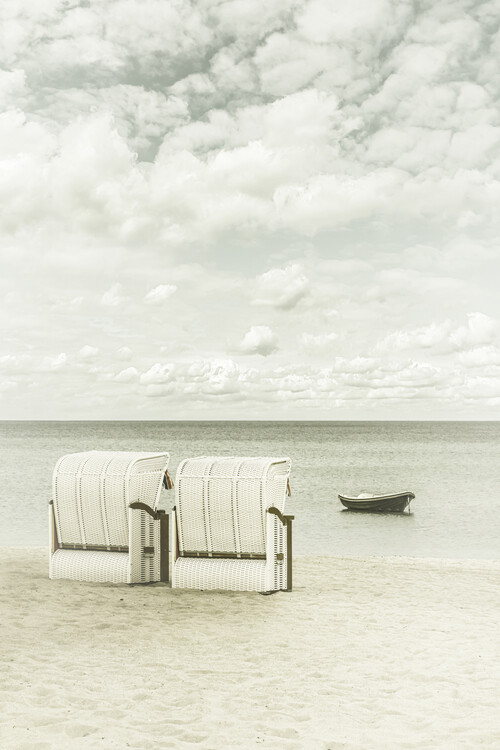 Art Print on Demand Idyllic Baltic Sea with typical beach chairs | Vintage