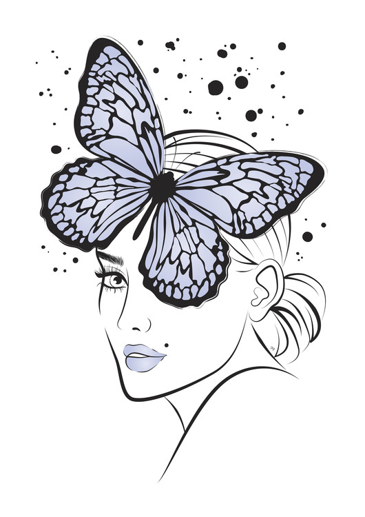 Art Print on Demand Lady Butterfly Blue