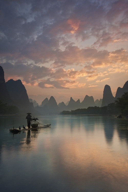 Art Print on Demand Li River Sunrise