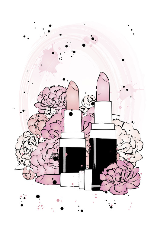 Art Print on Demand Lipstick Peonies