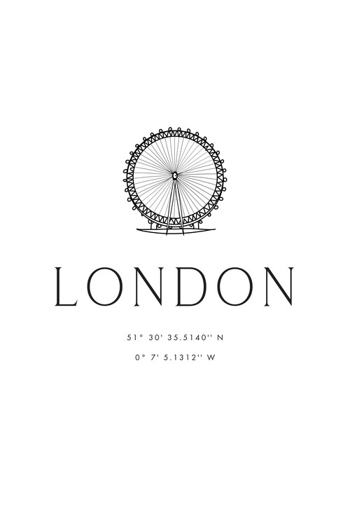 Illustration London coordinates with London Eye