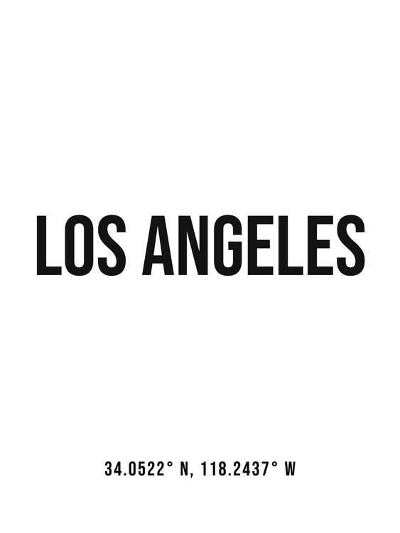 Art Print on Demand Los Angeles simple coordinates