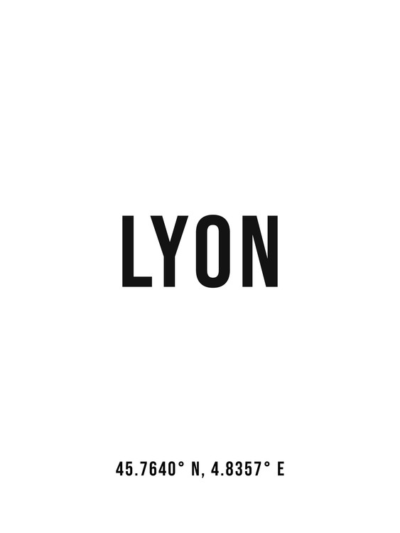 Art Print on Demand Lyon simple coordinates