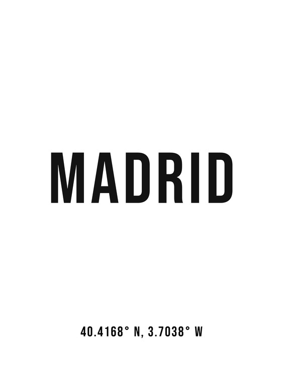 Art Print on Demand Madrid simple coordinates