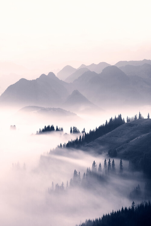 Art Print on Demand Misty mountains