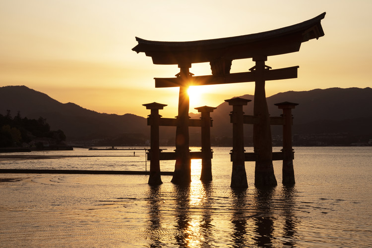 Art Print on Demand Miyajima Torii Sunset
