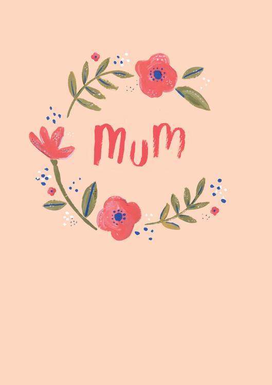 Art Print on Demand Mum floral wreath