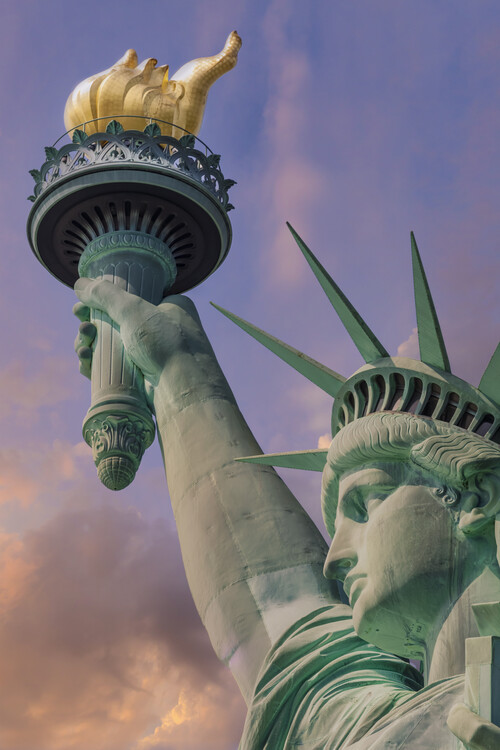 Art Print on Demand NEW YORK CITY Statue of Liberty at sunset