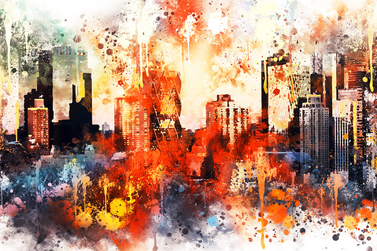 Art Print on Demand NYC Watercolor 124