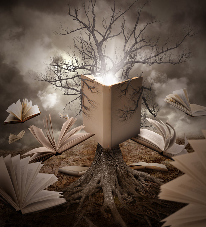 Art Print on Demand Old Tree Reading Story Book