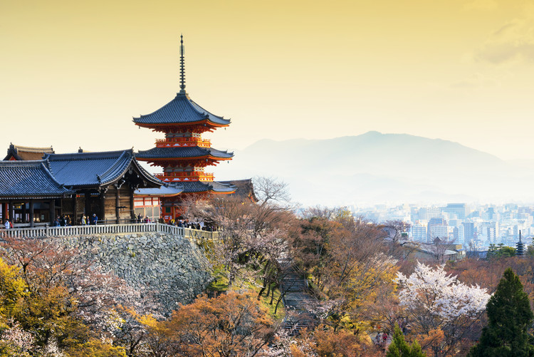 Art Print on Demand Pagoda Kiyomizu-Dera Temple at Sunset