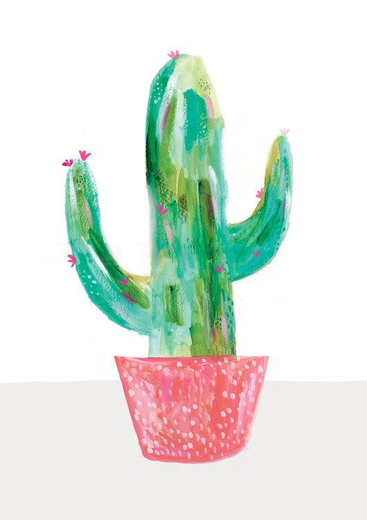 Art Print on Demand Painted cactus in coral plant pot