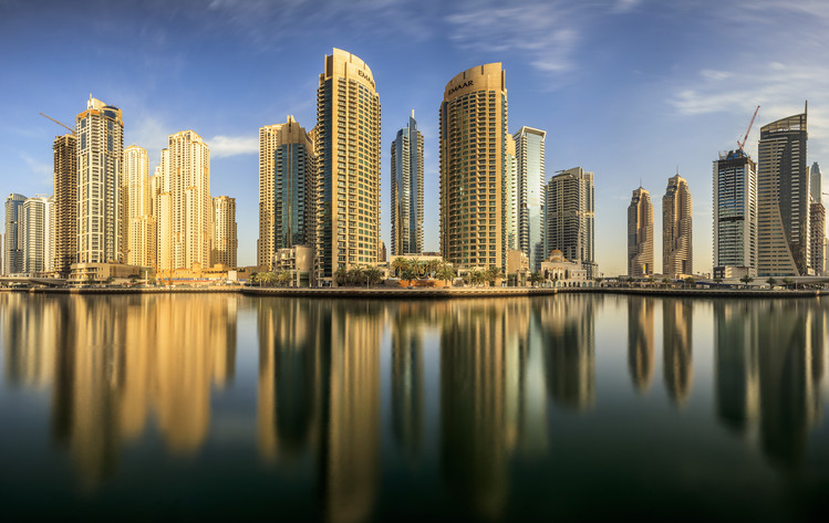 Art Print on Demand Panoramic Dubai Marina