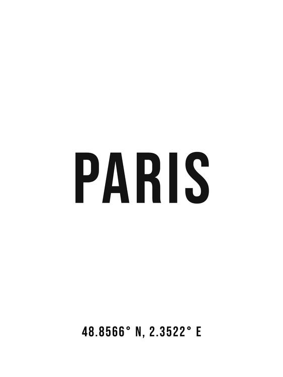 Art Print on Demand Paris simple coordinates