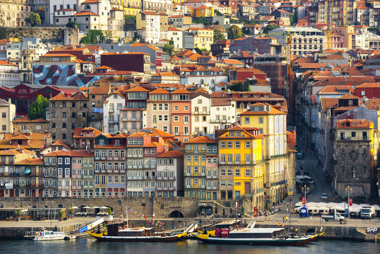 Art Print on Demand Porto The Beautiful Ribeira District at Sunrise