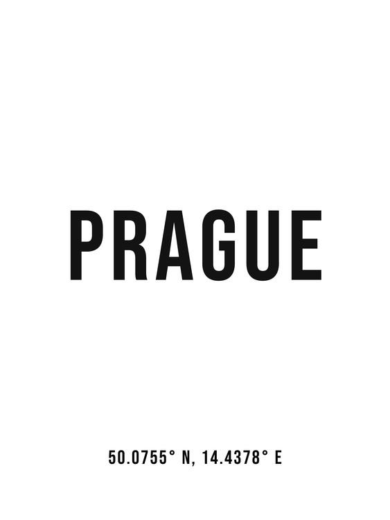 Art Print on Demand Prague simple coordinates