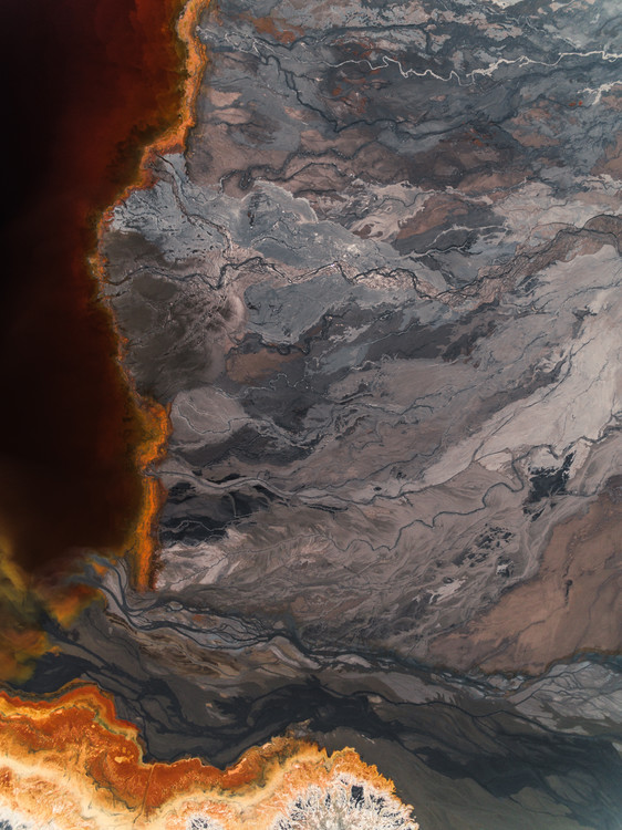 Art Print on Demand Sediments lake inside abandone mine
