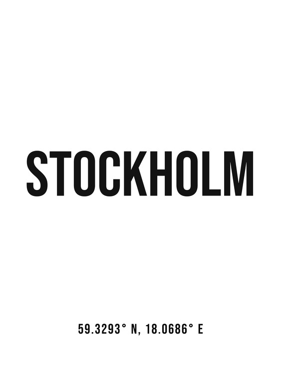 Art Print on Demand Stockholm simple coordinates