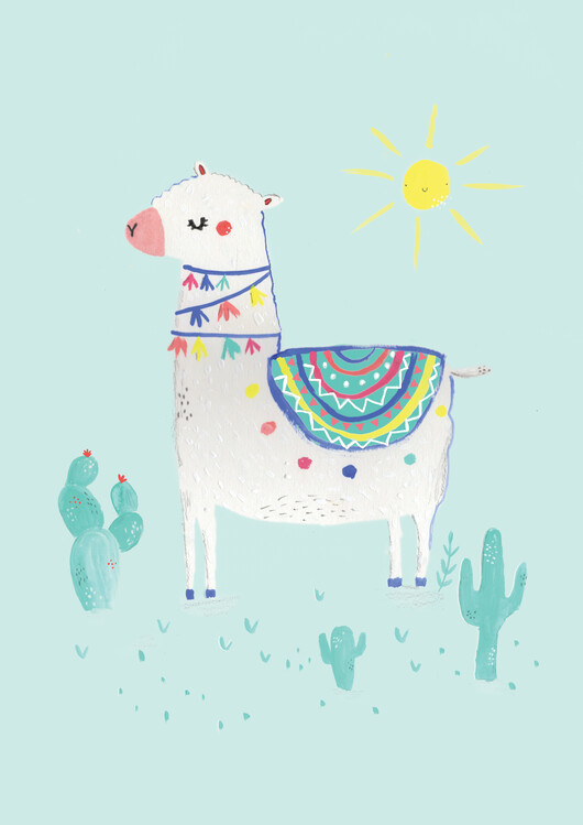 Art Print on Demand Sunshine llama