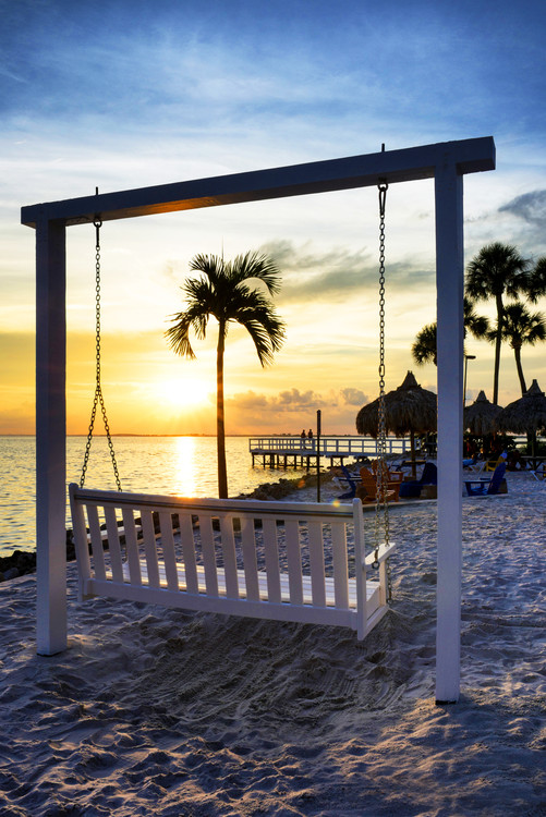 Art Print on Demand Swing Beach at Sunset