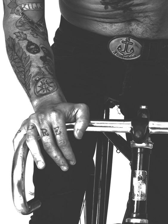 Art Print on Demand Tatted bike guy