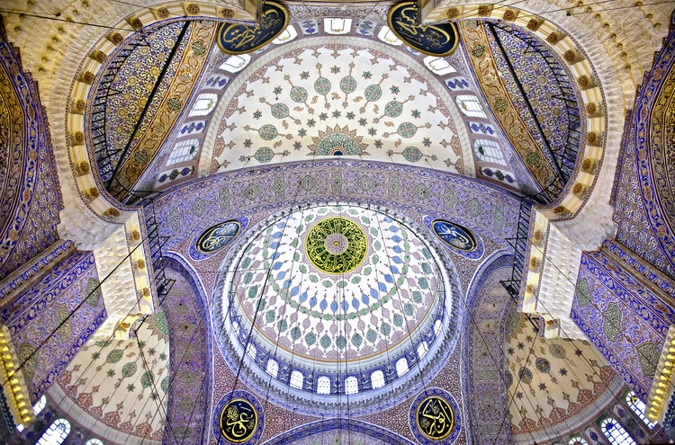 "Art Print on Demand The Blue Mosque a€"" The Sultan Ahmed Mosque. Columns and Main Domes. Istanbul. Turkey A© Nora de Ang"