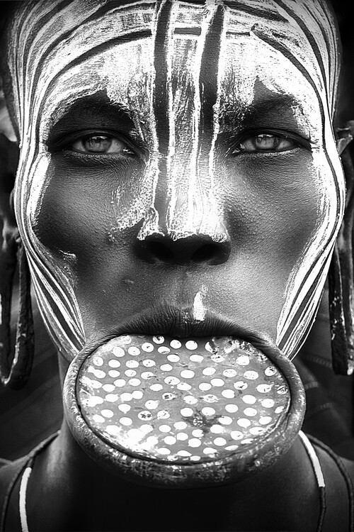 Art Print on Demand Tribal beauty - Ethiopia, Mursi people