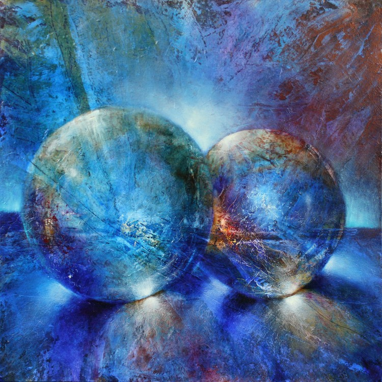 Art Print on Demand Two blue marbles