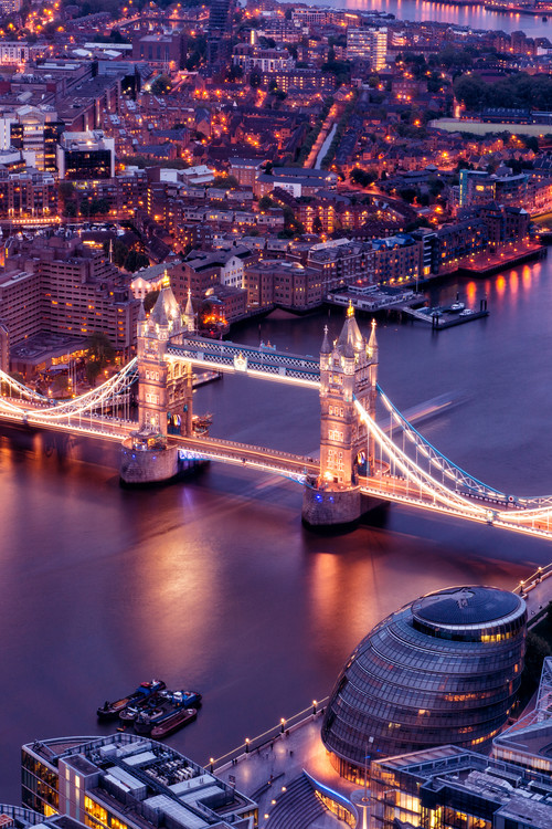 Art Print on Demand View of City of London with the Tower Bridge at Night