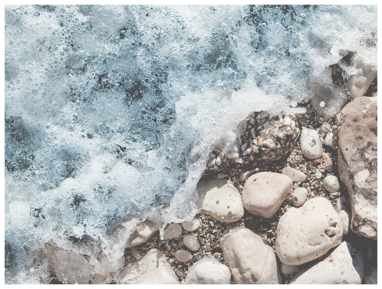 Art Print on Demand wave rocks sand