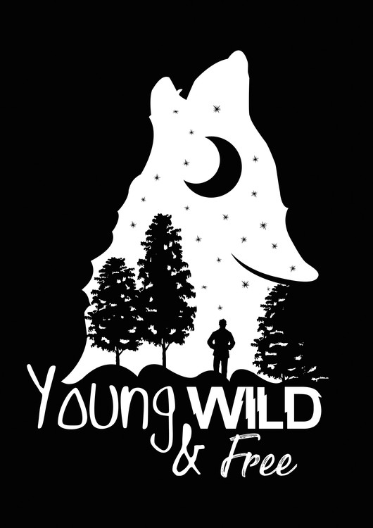 Art Print on Demand Young, Wild & Free - Black