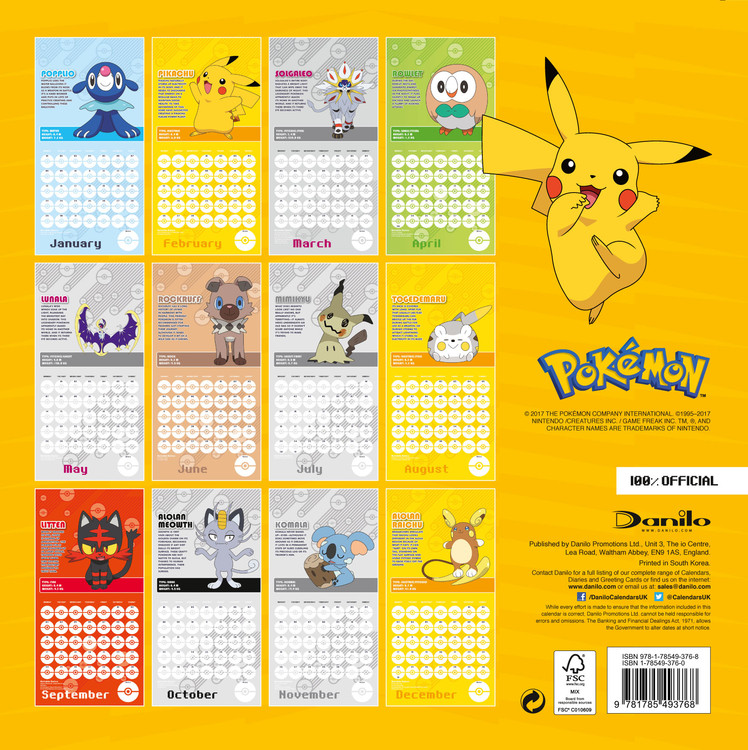 Pokemon   Wall Calendars | Large selection