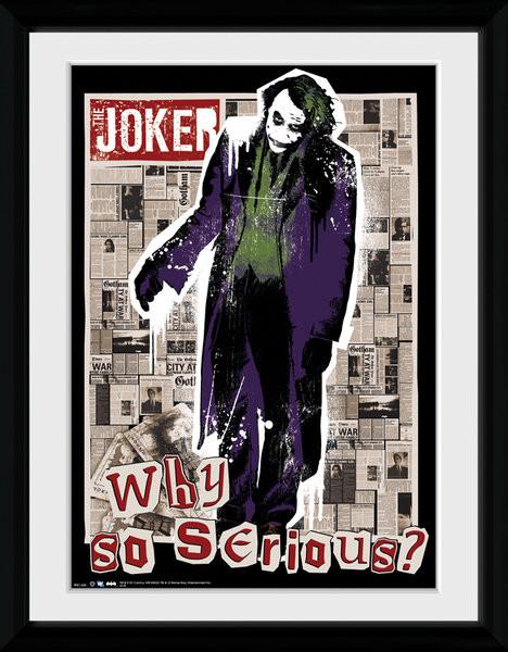 Batman The Dark Knight: Le Chevalier noir - Why So Serious Poster encadré en verre