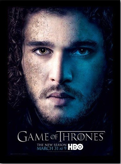 GAME OF THRONES 3 - jon Poster encadré en verre
