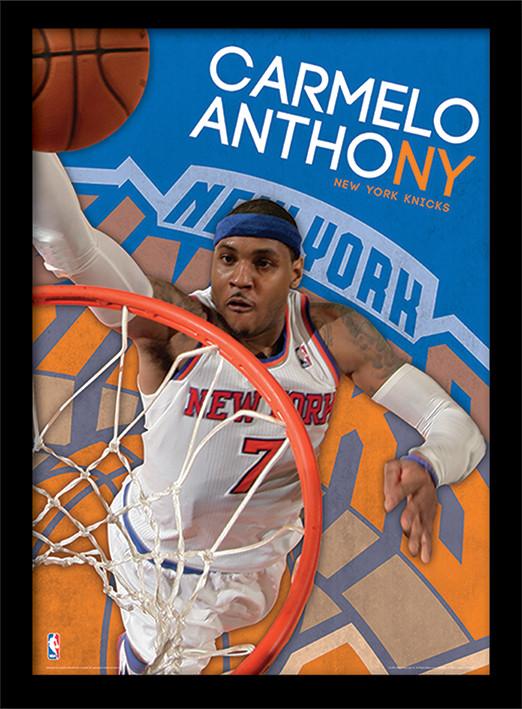 NBA - Carmelo Anthony Poster encadré en verre