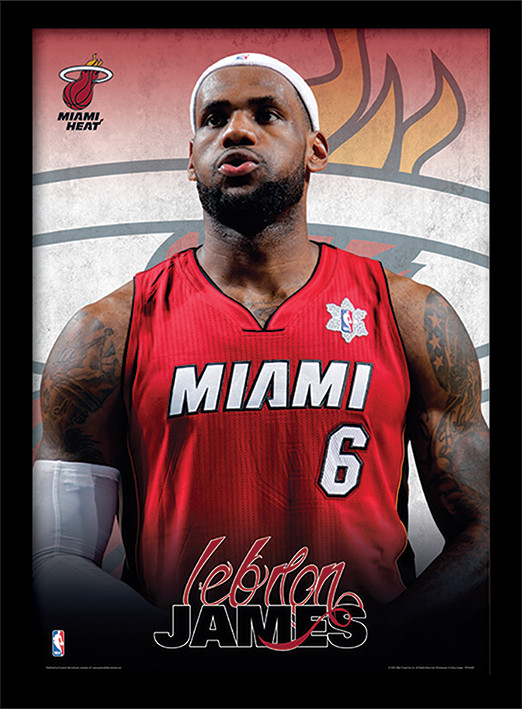 NBA - Lebron James Poster encadré en verre