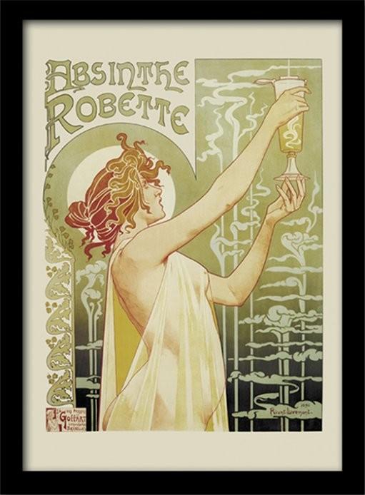 Absinthe Robette Poster emoldurado de vidro