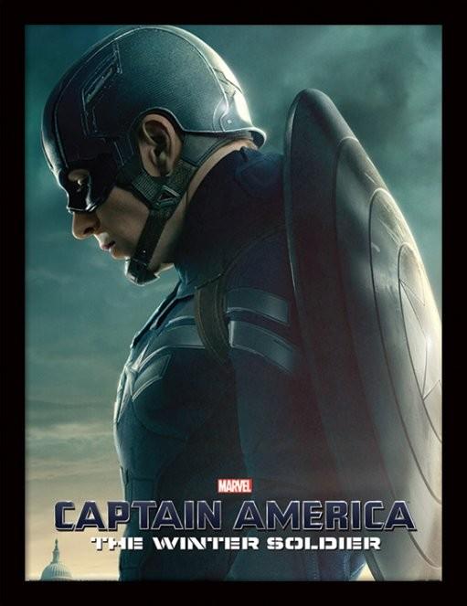 Captain America: Winter Soldier - Profile Poster emoldurado de vidro